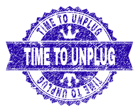 TIME TO UNPLUG rosette stamp seal watermark with distress effect. Designed with round rosette, ribbon and small crowns. Blue vector rubber watermark of TIME TO UNPLUG caption with unclean style.