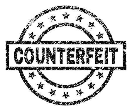 COUNTERFEIT stamp seal watermark with distress style. Designed with rectangle, circles and stars. Black vector rubber print of COUNTERFEIT caption with dirty texture.