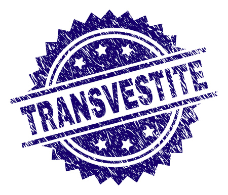 TRANSVESTITE stamp seal watermark with distress style. Blue vector rubber print of TRANSVESTITE title with unclean texture.