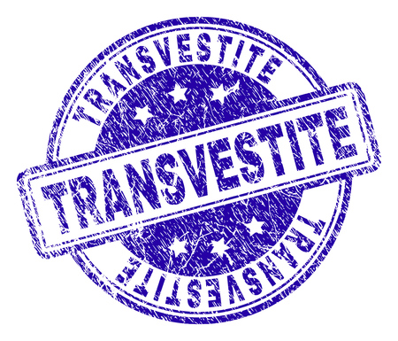 TRANSVESTITE stamp seal watermark with grunge texture. Designed with rounded rectangles and circles. Blue vector rubber print of TRANSVESTITE tag with grunge texture.