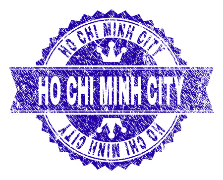 HO CHI MINH CITY rosette stamp seal imprint with grunge style. Designed with round rosette, ribbon and small crowns. Blue vector rubber print of HO CHI MINH CITY label with grunge style. Illustration