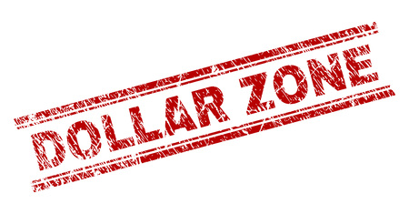 DOLLAR ZONE seal print with corroded texture. Red vector rubber print of DOLLAR ZONE text with retro texture. Text tag is placed between double parallel lines. Vecteurs
