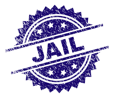 JAIL stamp seal watermark with distress style. Blue vector rubber print of JAIL text with corroded texture. Illustration