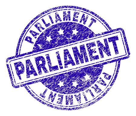 PARLIAMENT stamp seal imprint with grunge texture. Designed with rounded rectangles and circles. Blue vector rubber print of PARLIAMENT title with grunge texture. Ilustração