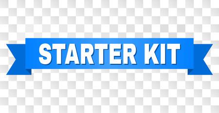 STARTER KIT-Text auf einem Band. Entworfen mit weißem Titel und blauem Streifen. Vektorbanner mit STARTER KIT-Tag auf transparentem Hintergrund.