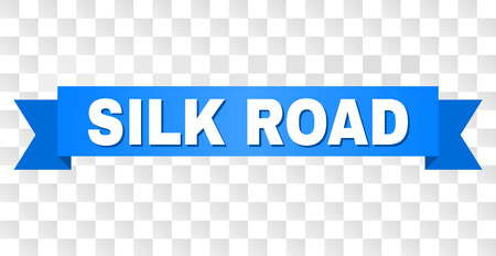 SILK ROAD text on a ribbon. Designed with white title and blue stripe. Vector banner with SILK ROAD tag on a transparent background.