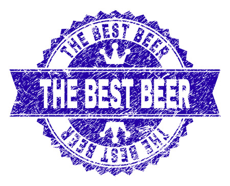 THE BEST BEER rosette stamp seal watermark with grunge texture. Designed with round rosette, ribbon and small crowns. Blue vector rubber watermark of THE BEST BEER caption with corroded texture. Illustration