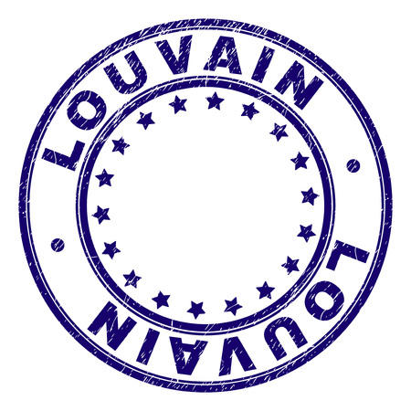 LOUVAIN stamp seal imprint with distress texture. Designed with round shapes and stars. Blue vector rubber print of LOUVAIN text with retro texture. Иллюстрация