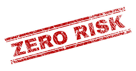 ZERO RISK seal print with distress texture. Red vector rubber print of ZERO RISK text with retro texture. Text tag is placed between double parallel lines.
