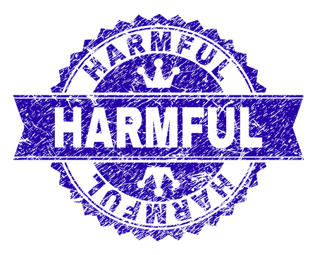 HARMFUL rosette seal watermark with distress texture. Designed with round rosette, ribbon and small crowns. Blue vector rubber watermark of HARMFUL title with scratched texture. Illustration