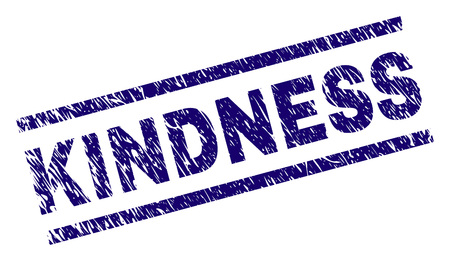 KINDNESS seal imprint with grunge style. Blue vector rubber print of KINDNESS text with grunge texture. Text label is placed between parallel lines.