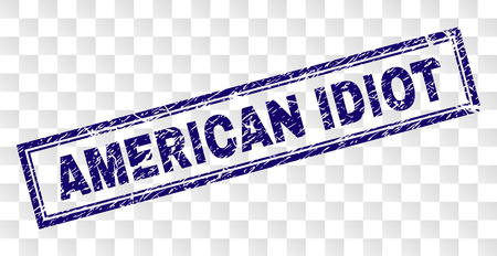 AMERICAN IDIOT stamp seal watermark with rubber print style and double framed rectangle shape. Stamp is placed on a transparent background. Illustration