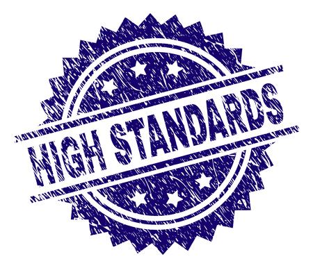 HIGH STANDARDS stamp seal watermark with distress style. Blue vector rubber print of HIGH STANDARDS caption with retro texture.