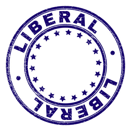 LIBERAL stamp seal imprint with grunge texture. Designed with circles and stars. Blue vector rubber print of LIBERAL title with grunge texture.