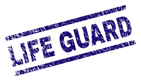 LIFE GUARD seal print with grunge style. Blue vector rubber print of LIFE GUARD caption with grunge texture. Text label is placed between parallel lines. Illustration