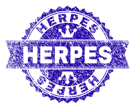 HERPES rosette seal imitation with distress style. Designed with round rosette, ribbon and small crowns. Blue vector rubber print of HERPES title with retro style.