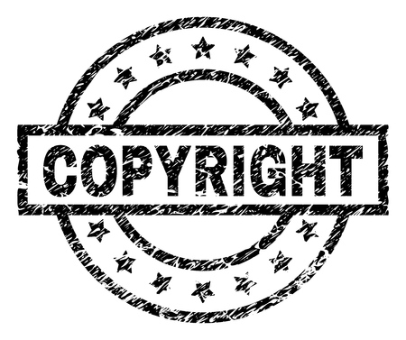 COPYRIGHT stamp seal watermark with distress style. Designed with rectangle, circles and stars. Black vector rubber print of COPYRIGHT label with retro texture.