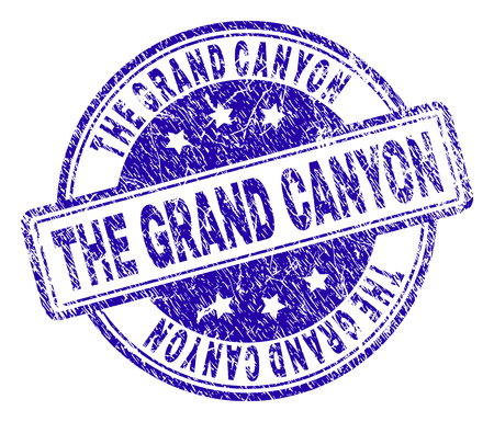 THE GRAND CANYON stamp seal watermark with grunge texture. Designed with rounded rectangles and circles. Blue vector rubber print of THE GRAND CANYON title with dust texture.