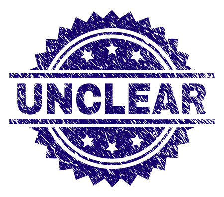 UNCLEAR stamp seal watermark with distress style. Blue vector rubber print of UNCLEAR tag with dust texture.