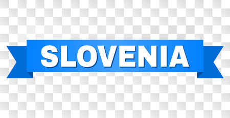 SLOVENIA text on a ribbon. Designed with white caption and blue stripe. Vector banner with SLOVENIA tag on a transparent background.