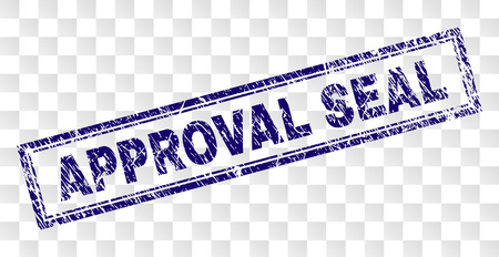 APPROVAL SEAL stamp seal print with grunge style and double framed rectangle shape. Stamp is placed on a transparent background. Blue vector rubber print of APPROVAL SEAL label with grunge texture.