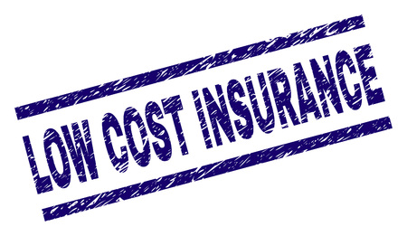 LOW COST INSURANCE seal print with scratced style. Blue vector rubber print of LOW COST INSURANCE text with dirty texture. Text title is placed between parallel lines.