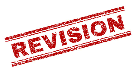 REVISION seal print with distress texture. Red vector rubber print of REVISION title with dust texture. Text title is placed between double parallel lines. Illustration