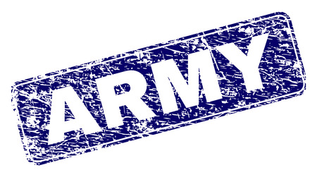 ARMY stamp seal print with grunge style. Seal shape is a rounded rectangle with frame. Blue vector rubber print of ARMY text with unclean style. Illusztráció
