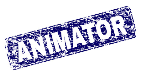 ANIMATOR stamp seal print with distress texture. Seal shape is a rounded rectangle with frame. Blue vector rubber print of ANIMATOR tag with scratched texture.