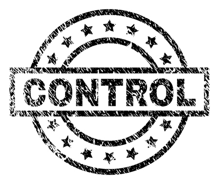 CONTROL stamp seal watermark with distress style. Designed with rectangle, circles and stars. Black vector rubber print of CONTROL caption with dirty texture.