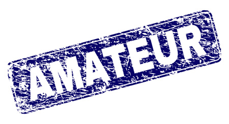 AMATEUR stamp seal print with distress texture. Seal shape is a rounded rectangle with frame. Blue vector rubber print of AMATEUR caption with scratched texture. Illustration