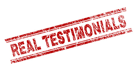 REAL TESTIMONIALS seal print with distress texture. Red vector rubber print of REAL TESTIMONIALS text with dust texture. Text caption is placed between double parallel lines.