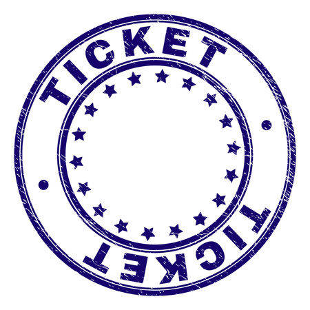 TICKET stamp seal watermark with grunge texture. Designed with circles and stars. Blue vector rubber print of TICKET tag with dirty texture.