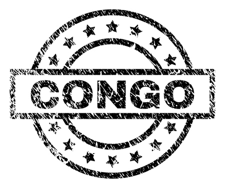CONGO stamp seal watermark with distress style. Designed with rectangle, circles and stars. Black vector rubber print of CONGO title with corroded texture.