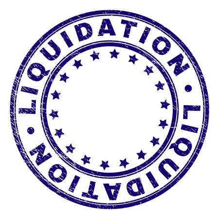 LIQUIDATION stamp seal watermark with grunge effect. Designed with round shapes and stars. Blue vector rubber print of LIQUIDATION text with grunge texture.
