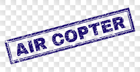 AIR COPTER stamp seal watermark with rubber print style and double framed rectangle shape. Stamp is placed on a transparent background.