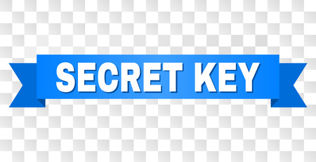 SECRET KEY text on a ribbon. Designed with white title and blue tape. Vector banner with SECRET KEY tag on a transparent background.