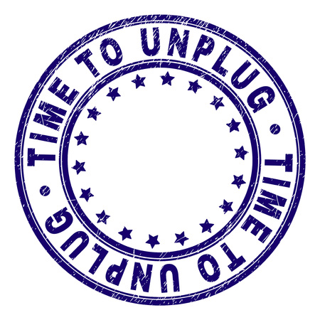 TIME TO UNPLUG stamp seal watermark with distress texture. Designed with circles and stars. Blue vector rubber print of TIME TO UNPLUG caption with scratched texture. Иллюстрация