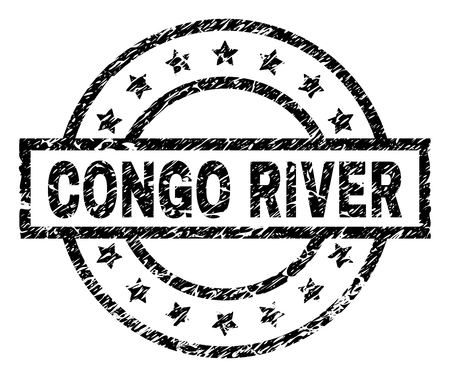 CONGO RIVER stamp seal watermark with distress style. Designed with rectangle, circles and stars. Black vector rubber print of CONGO RIVER title with dirty texture.