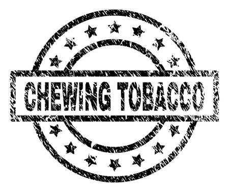CHEWING TOBACCO stamp seal watermark with distress style. Designed with rectangle, circles and stars. Black vector rubber print of CHEWING TOBACCO title with retro texture.