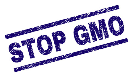 STOP GMO seal print with distress style. Blue vector rubber print of STOP GMO title with scratched texture. Text title is placed between parallel lines. Ilustrace