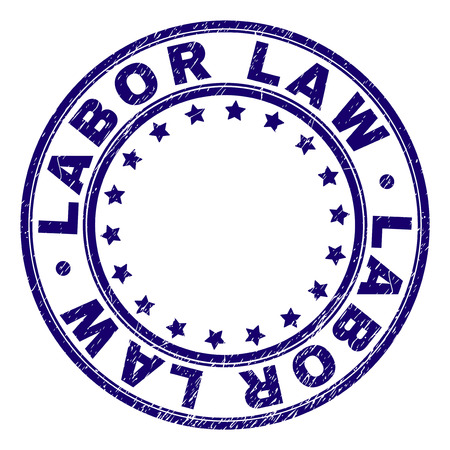 LABOR LAW stamp seal watermark with grunge texture. Designed with round shapes and stars. Blue vector rubber print of LABOR LAW tag with retro texture.
