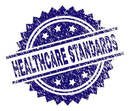 HEALTHCARE STANDARDS stamp seal watermark with distress style. Blue vector rubber print of HEALTHCARE STANDARDS text with corroded texture.