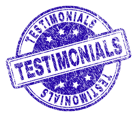 TESTIMONIALS stamp seal imprint with grunge texture. Designed with rounded rectangles and circles. Blue vector rubber print of TESTIMONIALS title with scratched texture.