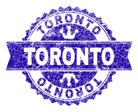 TORONTO rosette stamp watermark with grunge style. Designed with round rosette, ribbon and small crowns. Blue vector rubber watermark of TORONTO title with corroded style.  イラスト・ベクター素材