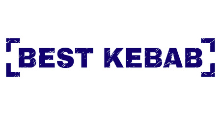 BEST KEBAB caption seal print with distress texture. Text title is placed between corners. Blue vector rubber print of BEST KEBAB with retro texture.