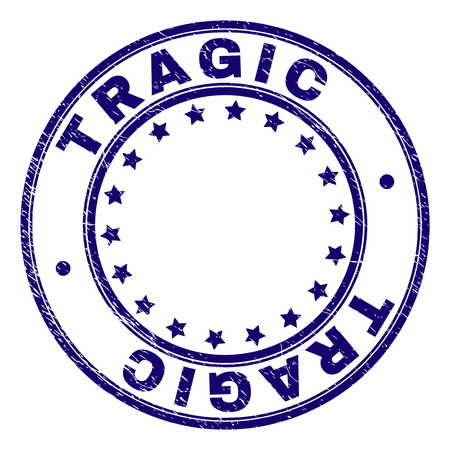 TRAGIC stamp seal imprint with grunge texture. Designed with circles and stars. Blue vector rubber print of TRAGIC title with grunge texture.