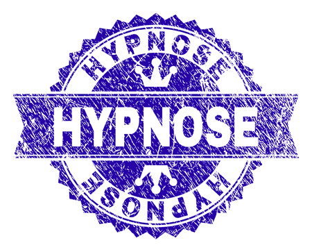 HYPNOSE rosette stamp seal imitation with distress texture. Designed with round rosette, ribbon and small crowns. Blue vector rubber watermark of HYPNOSE caption with corroded texture.