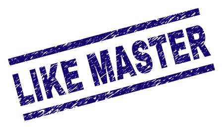 LIKE MASTER seal stamp with grunge style. Blue vector rubber print of LIKE MASTER caption with scratched texture. Text caption is placed between parallel lines. Vektorové ilustrace