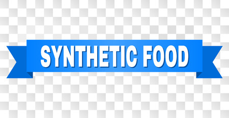 SYNTHETIC FOOD text on a ribbon. Designed with white title and blue stripe. Vector banner with SYNTHETIC FOOD tag on a transparent background.